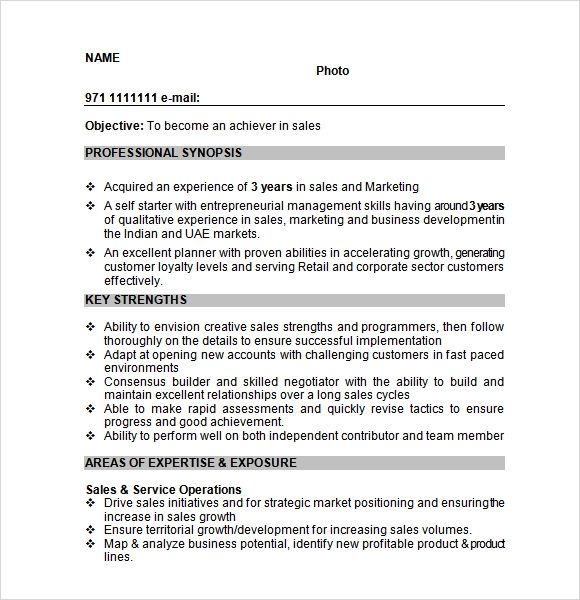 resume format for sales manager