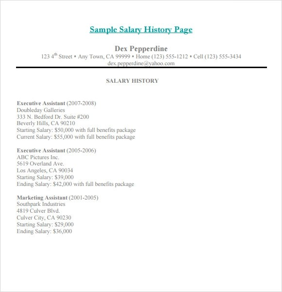 Sample cover letter and salary history