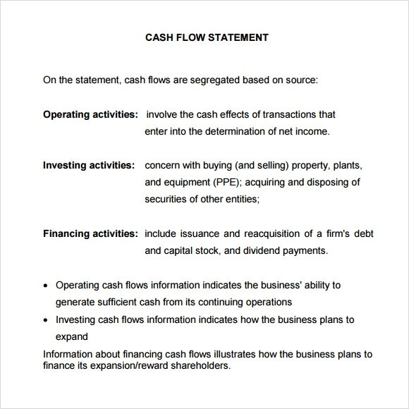 10+ Sample Statement of Cash Flows Sample Templates
