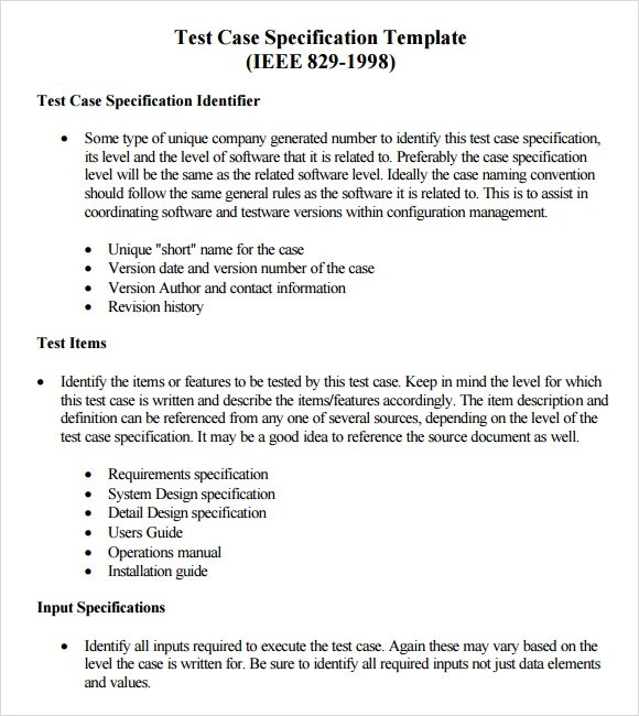 10 Useful Test Case Templates to Download for Free Sample Templates - software specification template