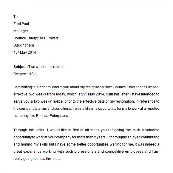 2 Weeks Notice Template | Sample Customer Service Resume