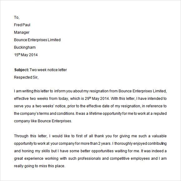 writing a 2 week notice letter