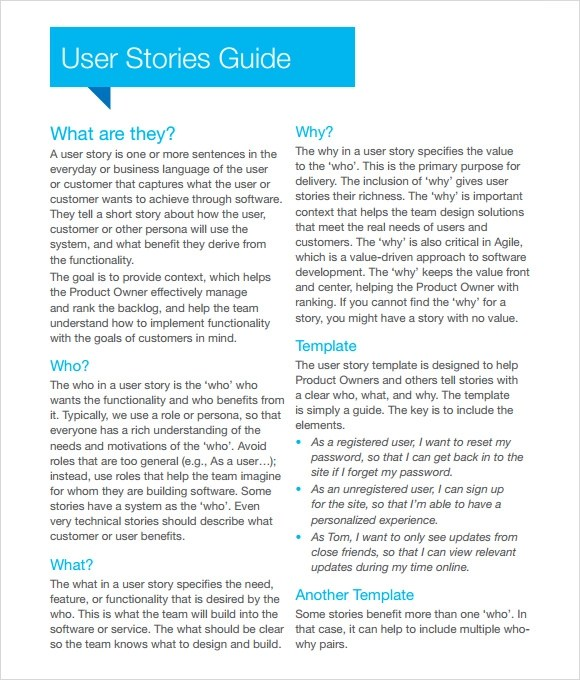 9+ User Story Templates - PDF, Excel