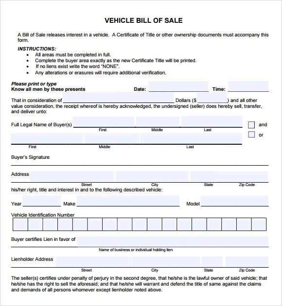 14+ Sample Vehicle Bill of Sales Sample Templates - automobile bill of sale sample