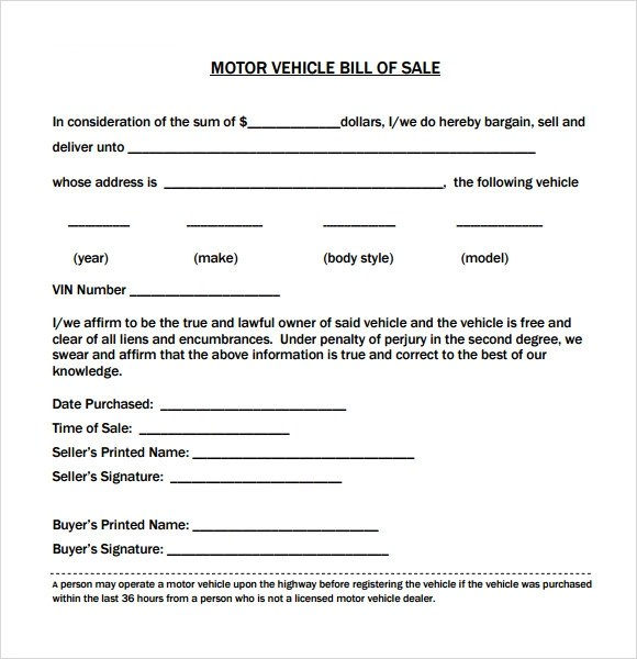 Sample Vehicle Bill of Sales - sample auto bill of sale