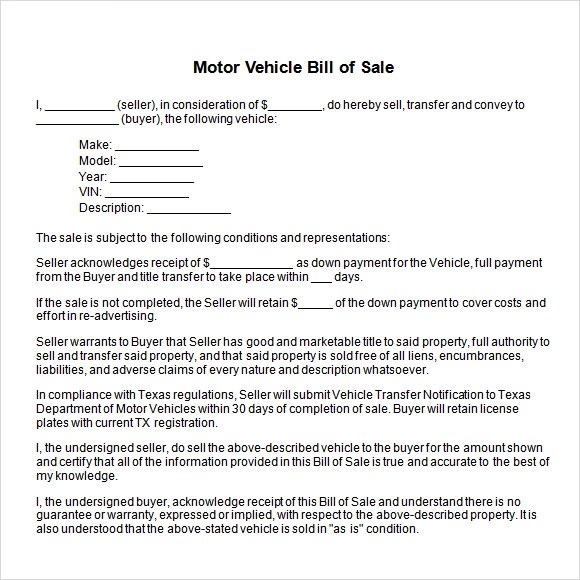 14+ Sample Vehicle Bill of Sales \u2013 PDF, Word Sample Templates - car bill of sale word template