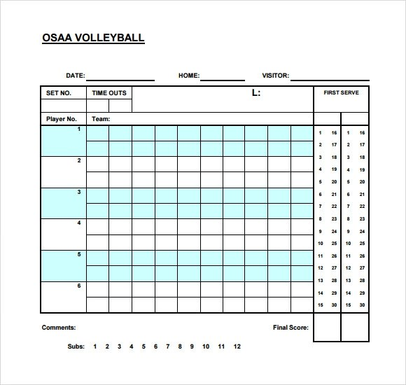 Volleyball Score Sheet Template - Resume Template Sample