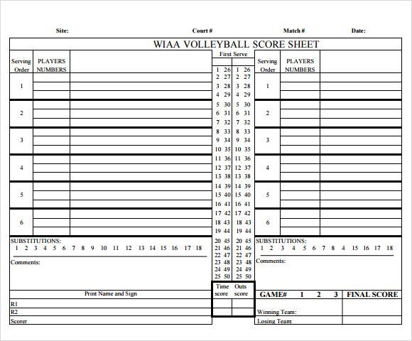Sample Volleyball Score Sheet - 9+ Documents in PDF - sample tennis score sheet template