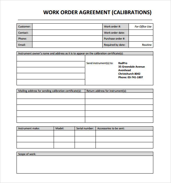 14+ Work Order Samples - PDF, Word, Excel, Apple Pages