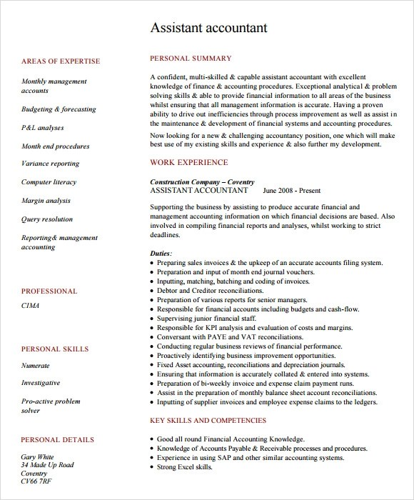 7+ Sample Accounting Resume Templates Sample Templates - accountant resume examples