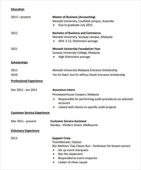 7+ Sample Accounting Resume Templates Sample Templates