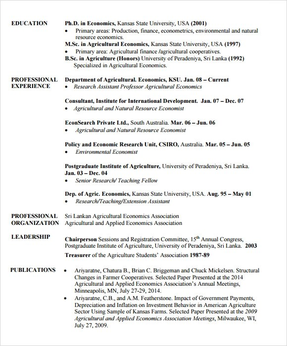 Sample Agriculture Resume - 6+ Documents in PDF