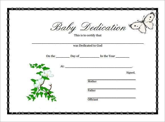 Baby Dedication Certificate - 9+ Download Free Documents in PDF