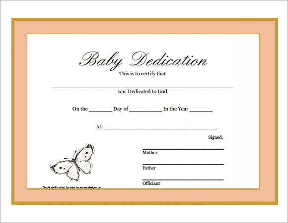 9 Sample Printable Baby Dedication Certificate Templates Sample - baby dedication certificates templates