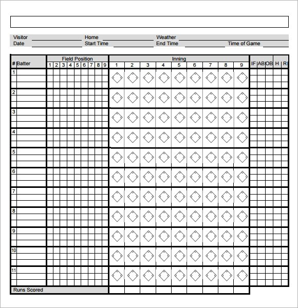 8+ Sample Baseball Score Sheets \u2013 PDF, Word, Excel, Pages Sample
