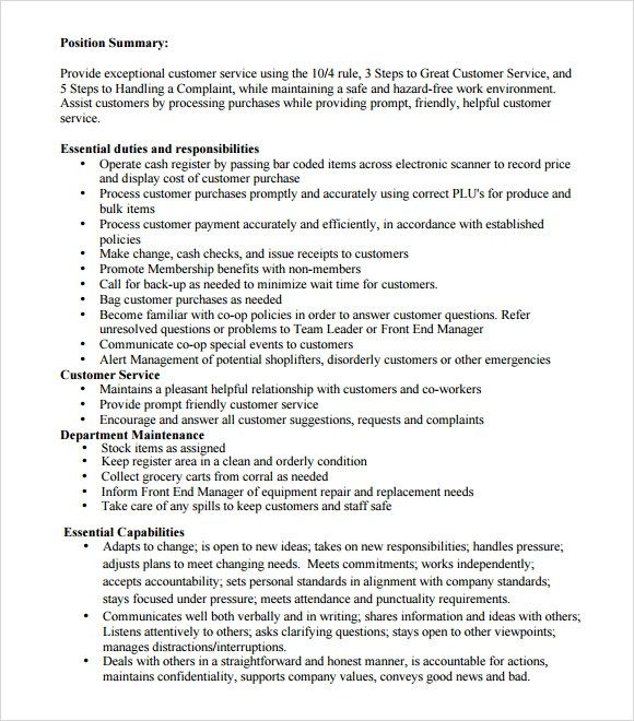 10 Cashier Resume Templates \u2013 Free Samples, Examples  Format