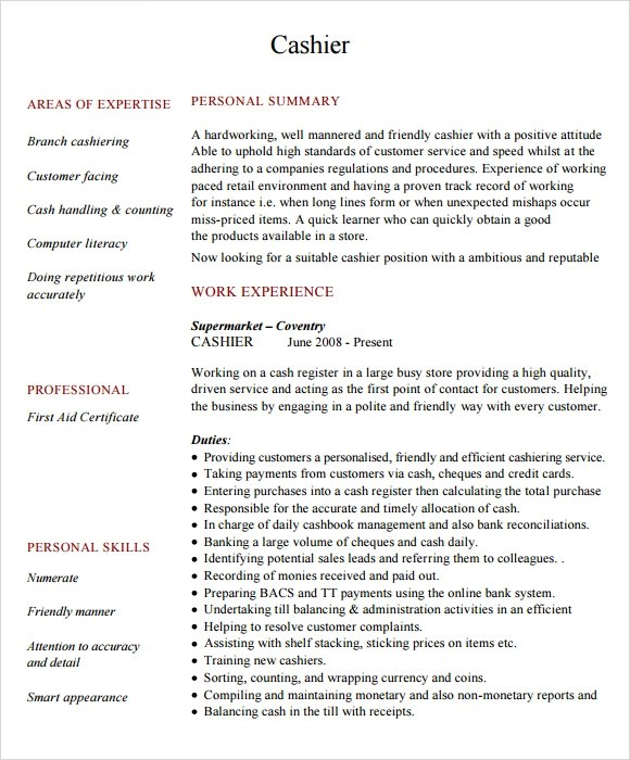 6+ Sample Cashier Resumes Sample Templates