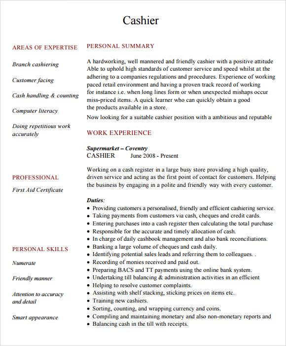 cashier skills resume