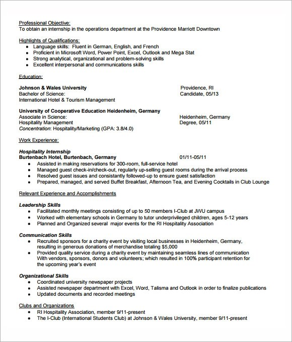 8 Sample Internship Resume Templates for Free Sample Templates