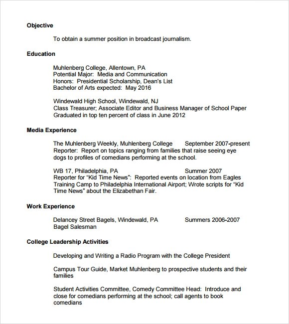 Aroj Resume Samples Free Sample Resume Examples Sample College Resume 6 Documents In Pdf Psd Word