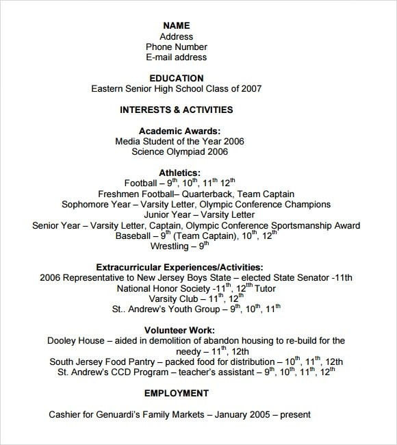 Sample College Resume - 6+ Documents in PDF , PSD, Word