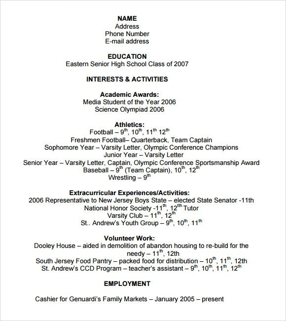 resume examples for activities