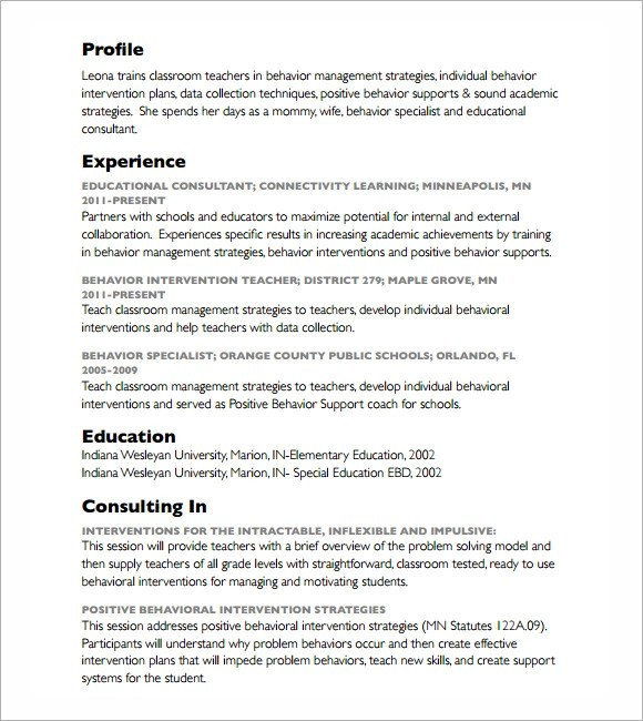 6+ Consultant Resume Samples Sample Templates - behavior intervention specialist sample resume