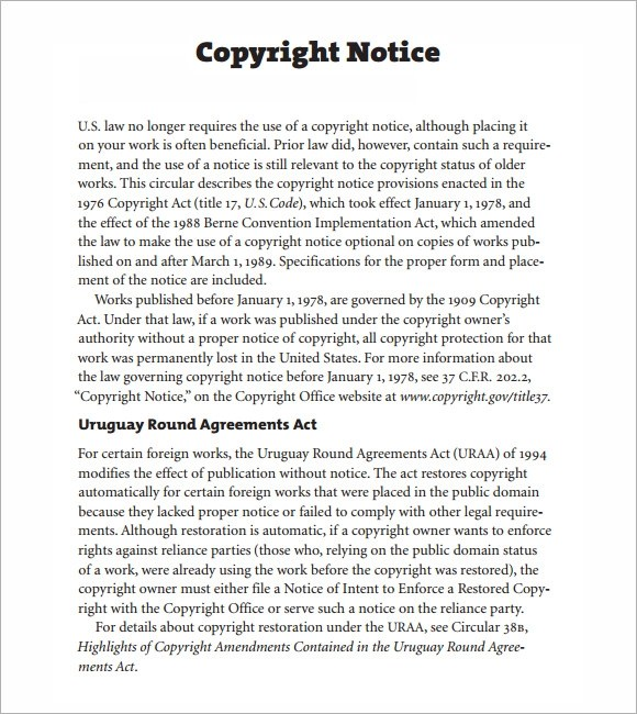 6+ Copyright Notice Samples Sample Templates - copyright notice template
