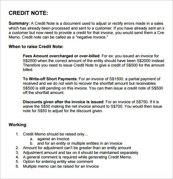 Doc.#: Sample Credit Note Format – Credit Note Template 8 Free