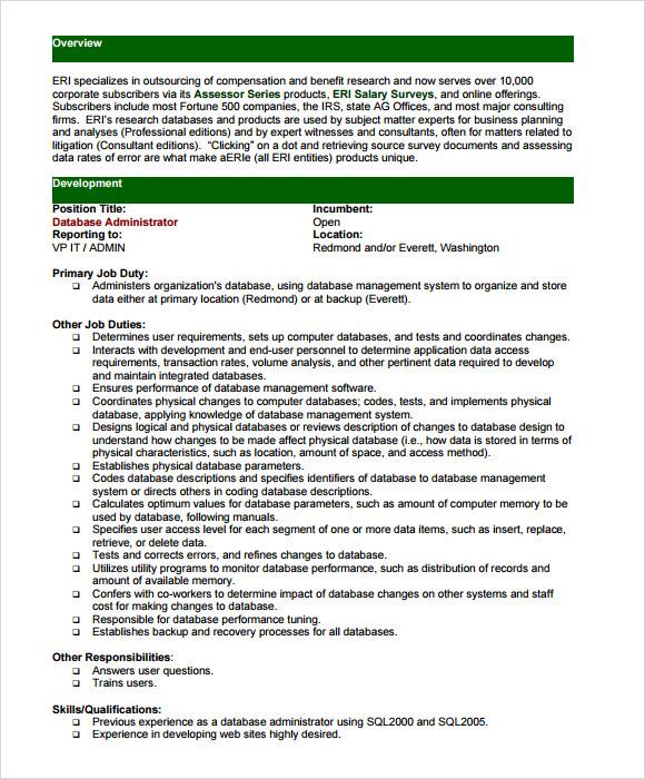 7+ Sample Database Administrator Resumes Sample Templates - database administrator resume objective