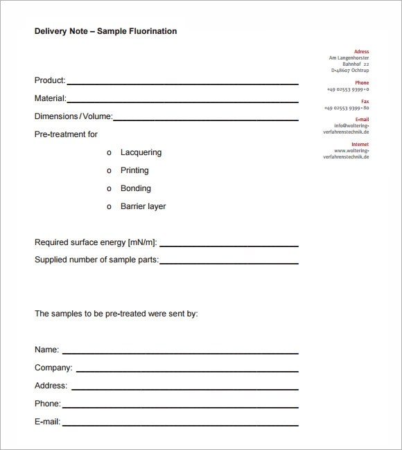 21+ Sample Delivery Note Templates \u2013 PDF, DOC, Excel Sample Templates