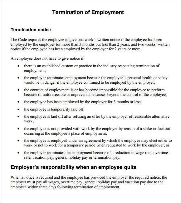 7+ Termination Notice Samples Sample Templates - Employee Separation Letter