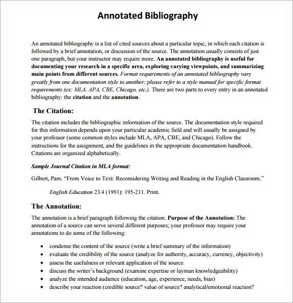 6+ Annotated Bibliography Samples Sample Templates - annotated bibliography template apa