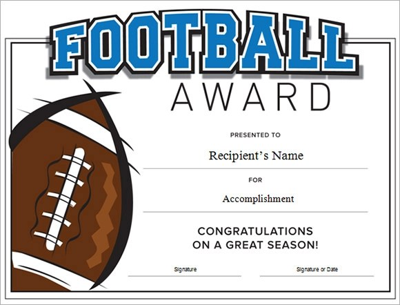 Football Certificate Template - 7+ Download Documents in PDF , PSD - awards template word