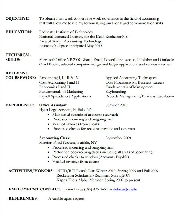 Sample Accounting Resume - 11+ Documents in PDF
