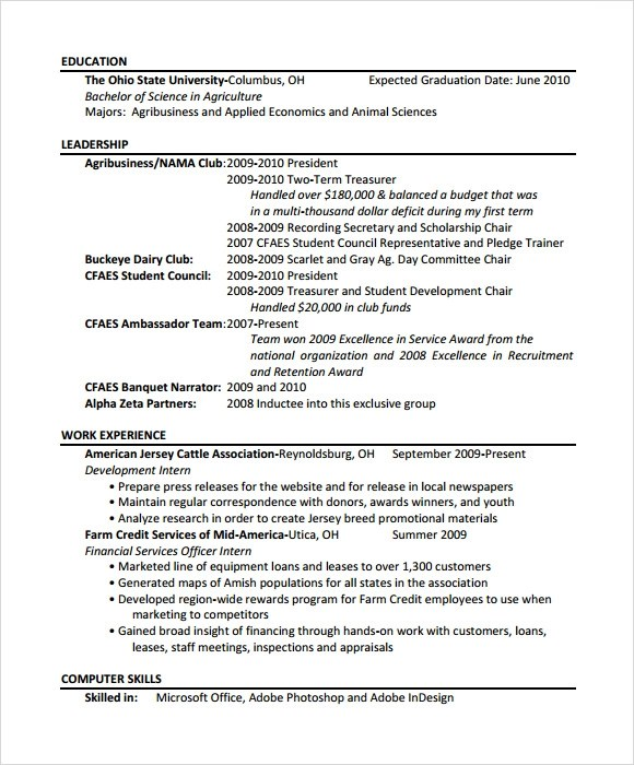Sample Agriculture Resume - 6+ Documents in PDF - agriculture resume template