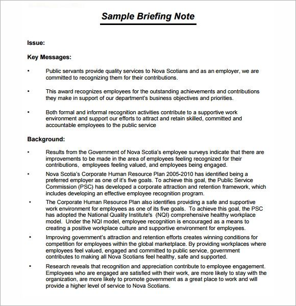 briefing paper template