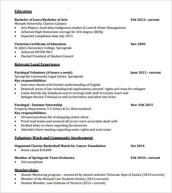 6 Sample Lawyer Resume Templates to Download Sample Templates - resume for lawyers