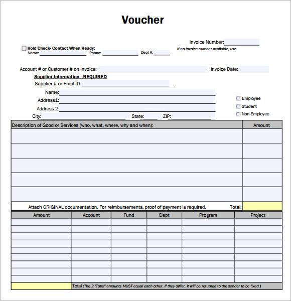 Create A Voucher Template – Create a Voucher