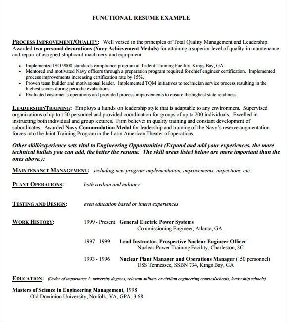 functional resume for management position
