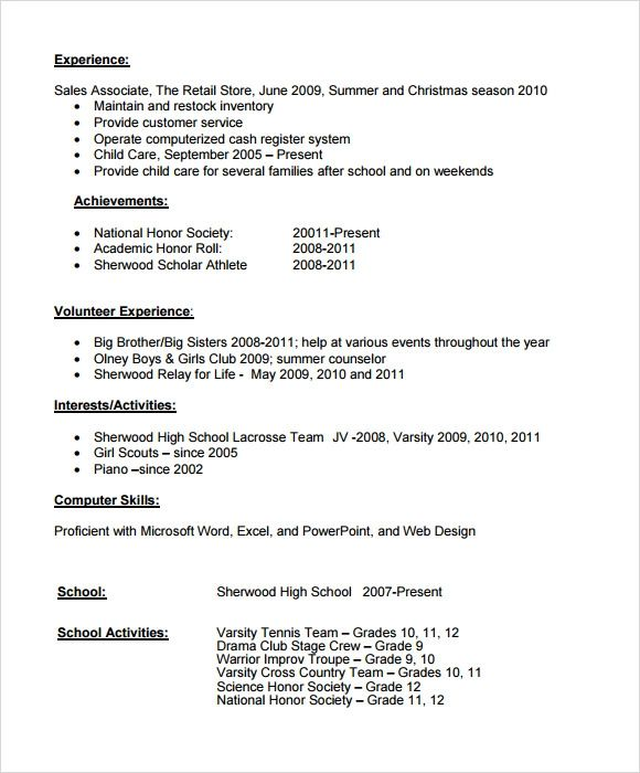 high school student resume microsoft word