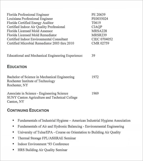 7+ HVAC Resume Templates Sample Templates - Refrigeration Mechanic Sample Resume