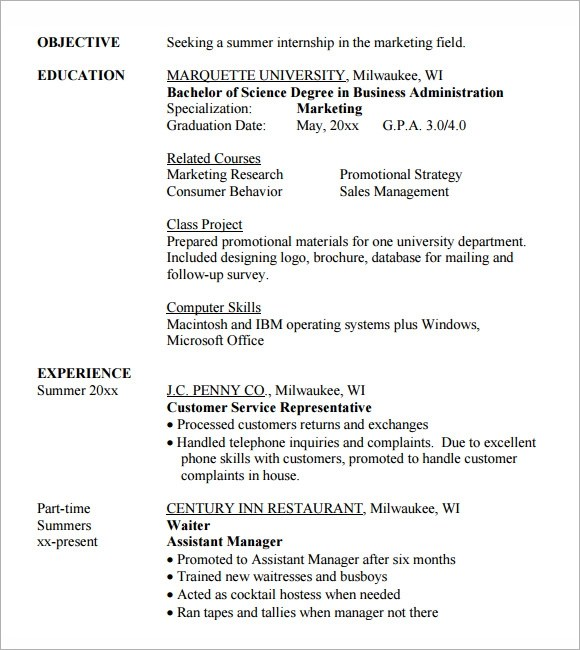 8 Sample Internship Resume Templates for Free Sample Templates - internship objective resume