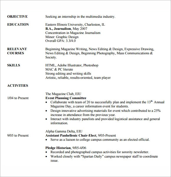 8 Sample Internship Resume Templates for Free Sample Templates - resume for internship template