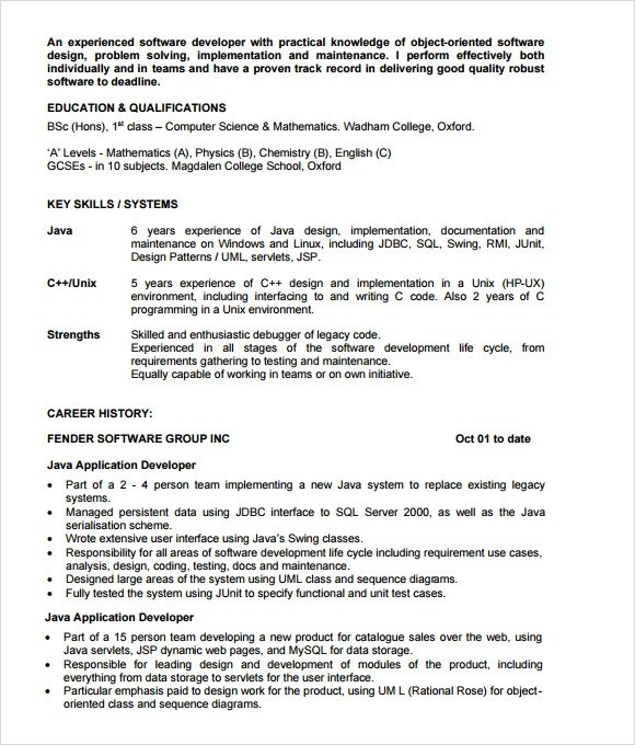 6 Sample Java Developer Resume Templates to Download Sample Templates - sample resume format for software engineer