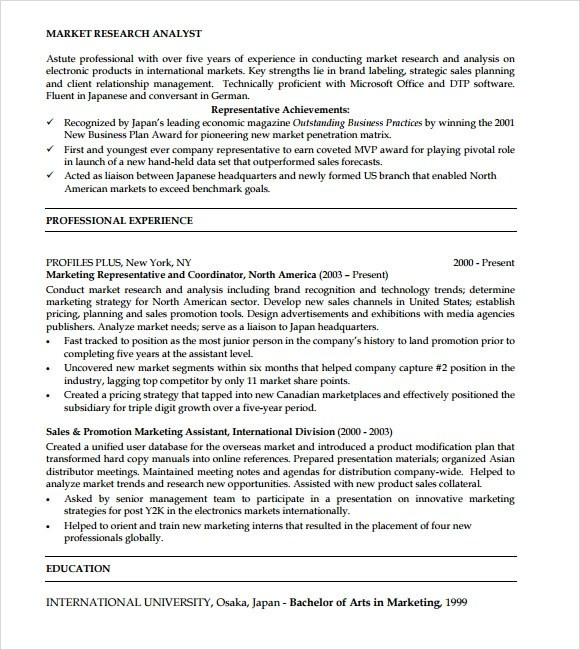 market research analyst resume samples