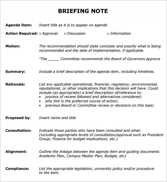 meeting briefing template