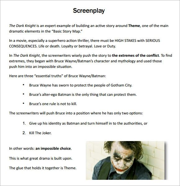 template for movie script
