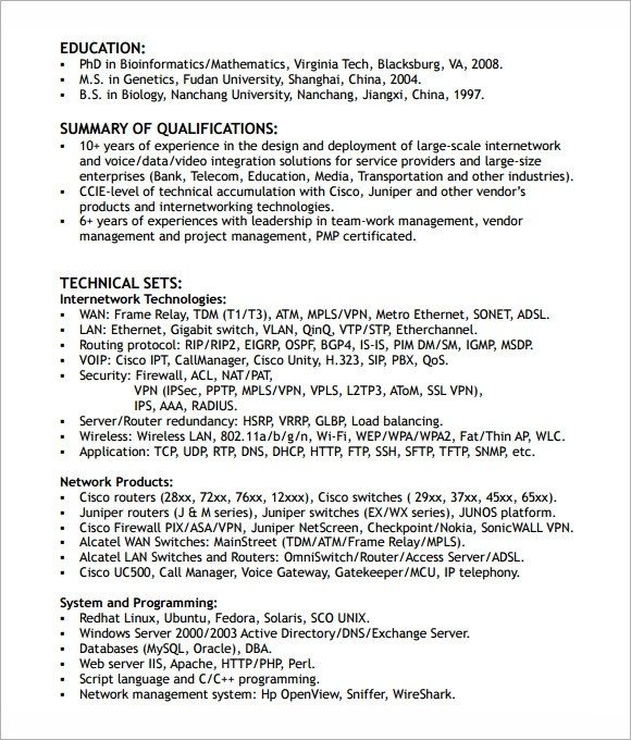 6 Sample Network Engineer Resume Templates to Download Sample