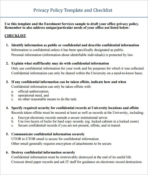 Confidentiality Agreement Template 11 Free Templates In Sample - privacy notice template